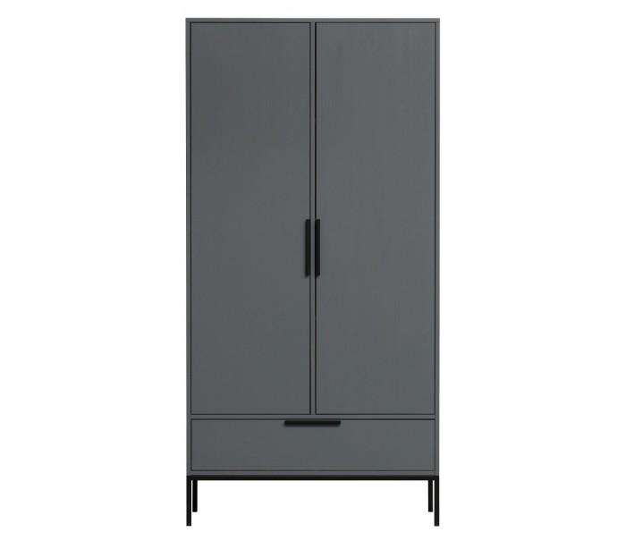 Garderobeskab i lakeret fyrretræ H180 x B100 x D53 cm – Stålgrå fra Selected by Lepong