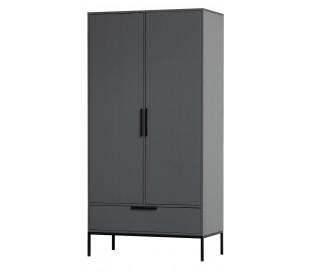 Garderobeskab i lakeret fyrretræ H180 x B100 x D53 cm - Stålgrå