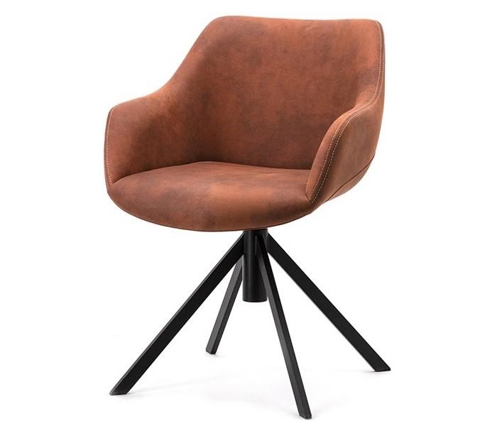 Image of   2 x Menno spisebordsstole i polyester H80 cm - Cognac