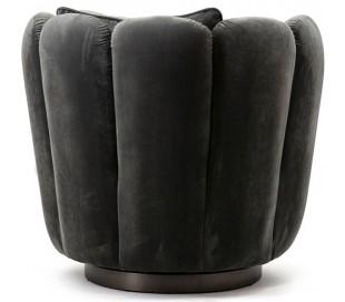 Lænestol i velour og metal H75 x B83 x D77 cm - Grå