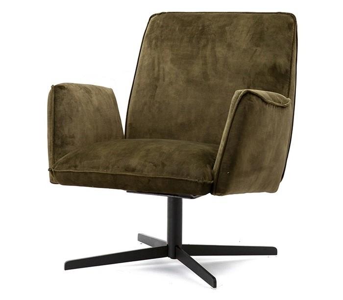 selected by lepong – Lænestol i velour og metal h88 x b75 x d80 cm - grøn på lepong.dk