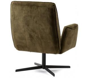Lænestol i velour og metal H88 x B75 x D80 cm - Grøn