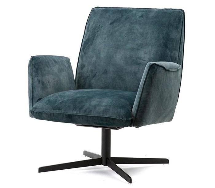 selected by lepong Lænestol i velour og metal h88 x b75 x d80 cm - blå på lepong.dk