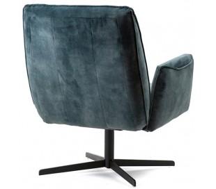 Lænestol i velour og metal H88 x B75 x D80 cm - Blå