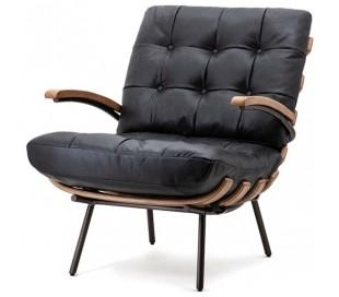 Lænestol i læder og egetræ H80 cm - Sort
