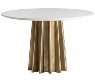 Rundt spisebord i marmor og stål Ø120 x H76 cm - Hvid/Antik guld