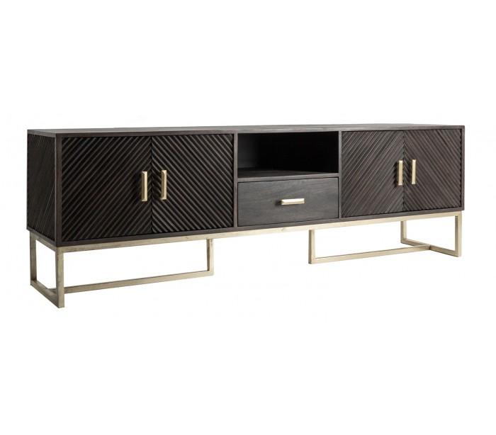 Image of   Rustikt tvbord i mangotræ og jern H65 cm x B200 cm - Antik brun/Antik guld