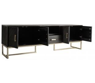 Rustikt tvbord i mangotræ og jern H65 cm x B200 cm - Antik brun/Antik guld