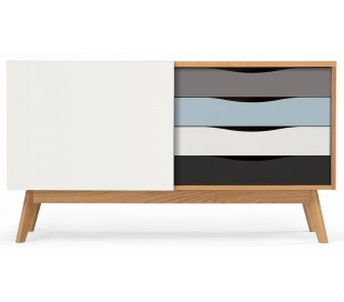 Avon sideboard i retro design - Eg/Blå/Grå