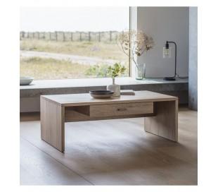 Sofabord med skuffe i massiv eg H40 x B110 x D65 cm - Eg
