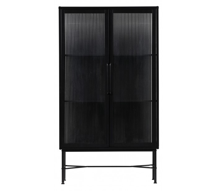 Industrielt vitrineskab i metal og glas H150 x B85 x D38 cm - Sort