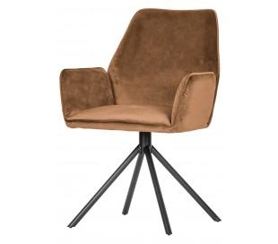 2 x Spisebordsstole med armlæn i velour H88 cm - Karamel