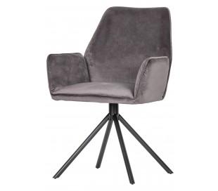 2 x Spisebordsstole med armlæn i velour H88 cm - Grå
