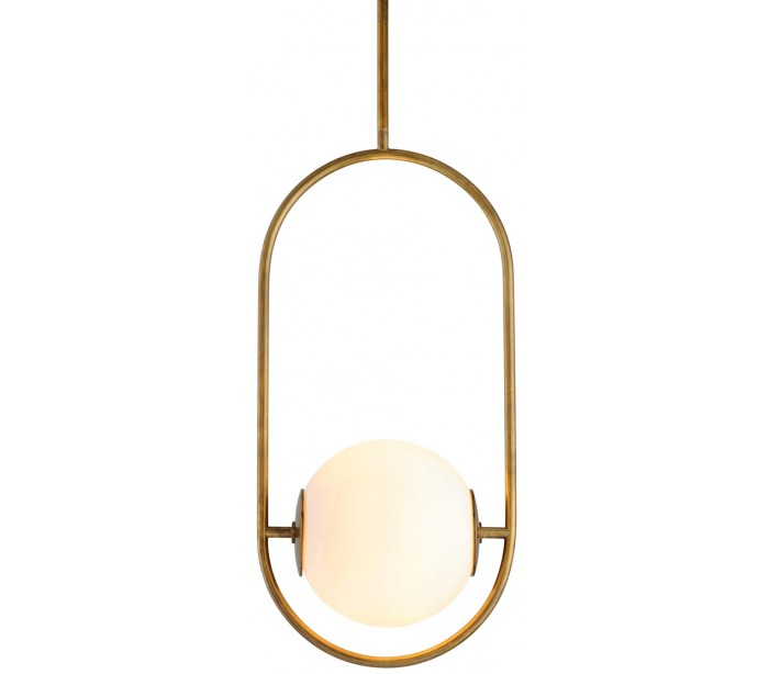 Everley Loftlampe i messing og opalglas Ø35 x 25 cm 1 x E27 – Antik messing/Opalhvid