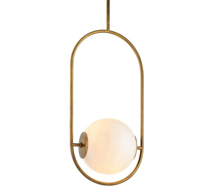 Everley Loftlampe i messing og opalglas Ø46 x 33 cm 1 x E27 – Antik messing/Opalhvid