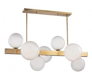Hinsdale Loftlampe i stål og glas B110 x D54 cm 7 x G9 - Antik messing/Afsyret hvid
