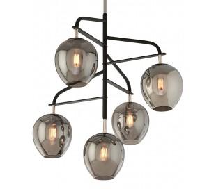 Odyssey Loftlampe i glas og jern Ø90 cm 5 x E27 - Smoked/Poleret nikkel