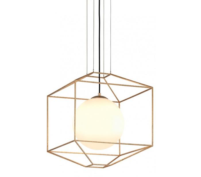 Silhouette Loftlampe i glas og jern Ø46 cm 1 x E27 – Opalhvid/Guld