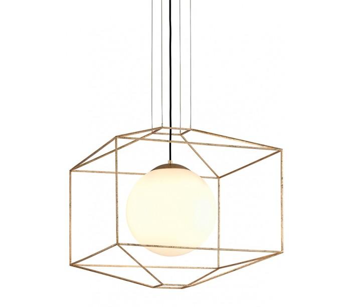 Billede af Hudson Valley, Silhouette Loftlampe i glas og jern Ø64 cm 1 x E27 - Opalhvid/Guld