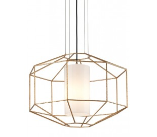 Silhouette Loftlampe i glas og jern Ø71 cm 1 x E27 - Opalhvid/Guld