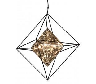 Epic Lysekrone i jern og glas Ø46 x 46 cm 4 x G9 - Røget glas/Sort