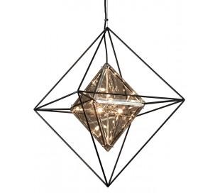 Epic Lysekrone i jern og glas Ø61 x 61 cm 6 x G9 - Røget glas/Sort