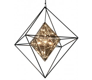 Epic Lysekrone i jern og glas Ø76 x 76 cm 8 x G9 - Røget glas/Sort