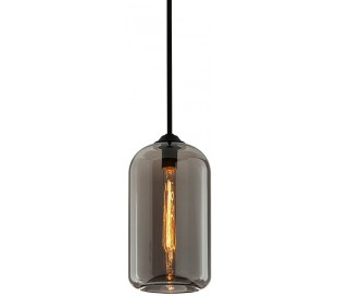District Loftlampe i glas og jern Ø20,5 cm 1 x E27 - Smoked/Sort