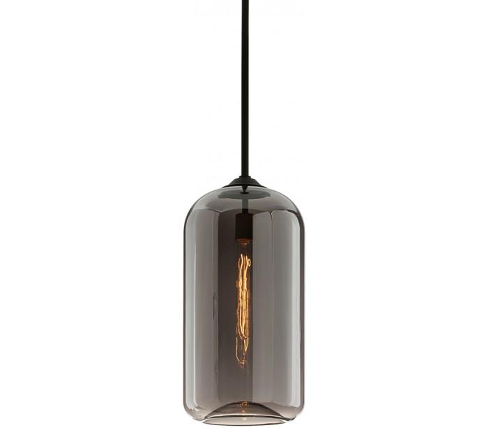 district loftlampe i glas og jern ø25,5 cm 1 x e27 - smoked/sort fra hudson valley