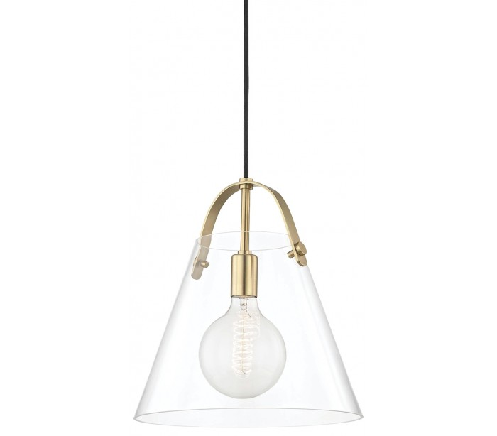 Karin Loftlampe i glas og stål Ø32,5 cm 1 x E27 LED – Antik messing/Klar