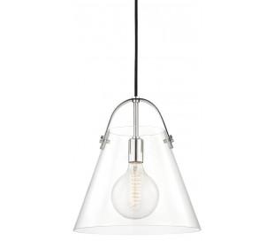 Karin Loftlampe i glas og stål Ø32,5 cm 1 x E27 LED - Poleret nikkel/Klar