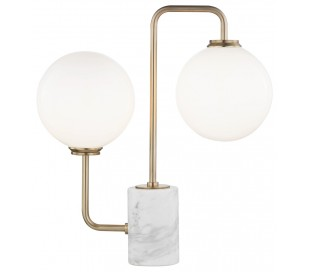 Mia Bordlampe i marmor, glas og stål H45 x B42 cm 2 x G9 LED - Antik messing/Hvid