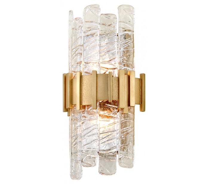 Ciro Væglampe i stål, jern og glas H41 cm 2 x E14 – Frostet klar/Antik messing