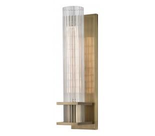 Sperry Væglampe i stål og glas H32,5 cm 1 x E27 - Antik messing/Klar