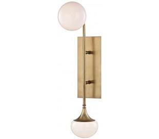 Fleming Væglampe i stål og opalglas H57 cm 2 x G9 LED - Antik messing/Opalhvid