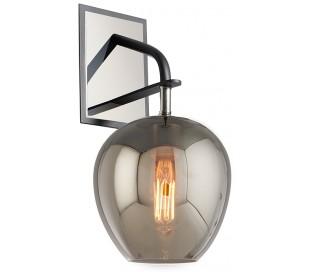 Odyssey Væglampe i jern og glas H40 cm 1 x E27 - Smoked/Poleret nikkel