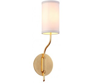 Juniper Væglampe i jern og linned H53,5 cm 1 x E14 - Antik guld/Offwhite