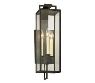 Beckham Væglampe i jern og glas H54,6 cm 3 x E14 - Antik sort/Klar