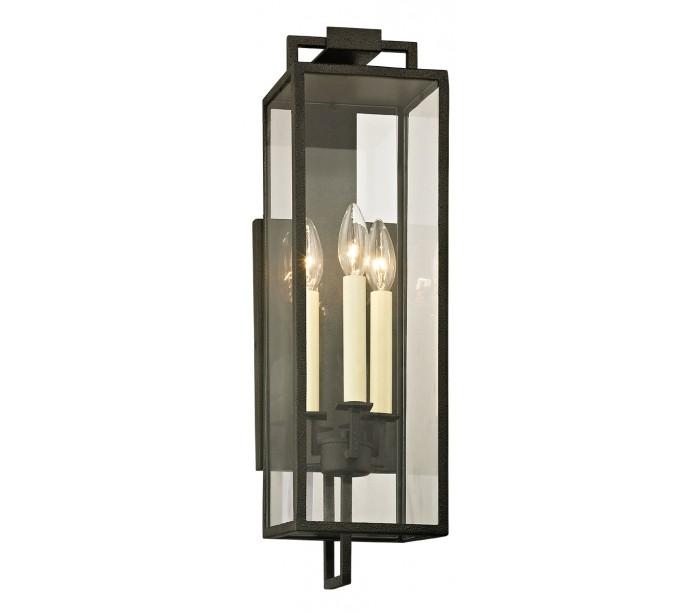 Image of   Beckham Væglampe i jern og glas H54,6 cm 3 x E14 - Antik sort/Klar