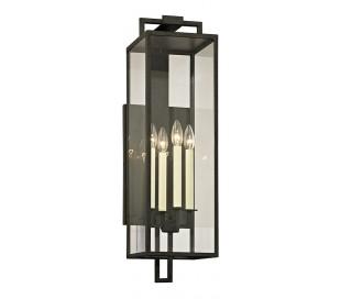Beckham Væglampe i jern og glas H72,4 cm 4 x E14 - Antik sort/Klar