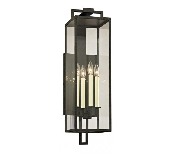 Image of   Beckham Væglampe i jern og glas H72,4 cm 4 x E14 - Antik sort/Klar