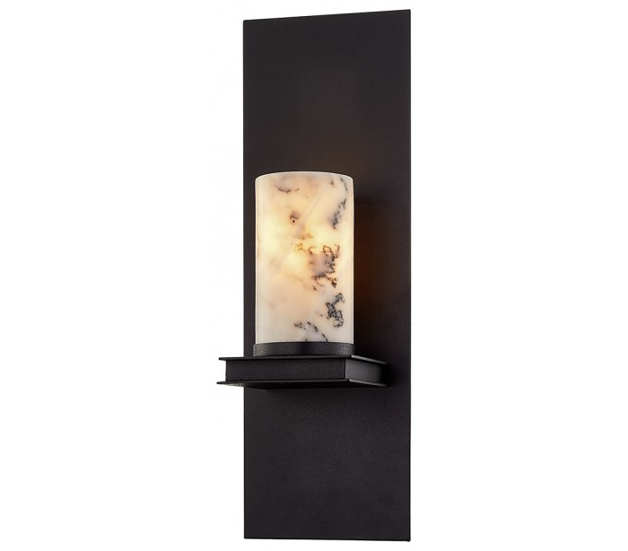 Image of   Catalonia Væglampe i jern og marmor H42 cm 1 x E14 - Antik sort/Hvid