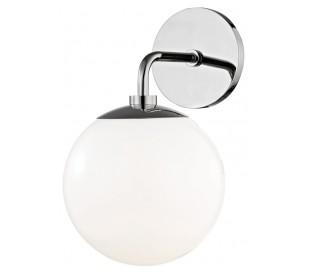 Stella Væglampe i messing og glas H29,2 cm 1 x E27 - Poleret nikkel/Hvid