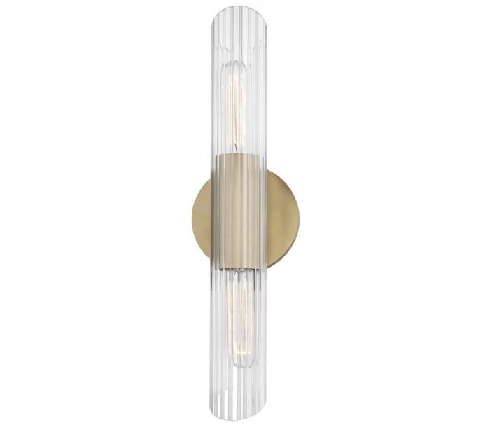 Image of   Cecily Væglampe i stål og glas H43,8 cm 2 x E27 - Antik messing/Klar