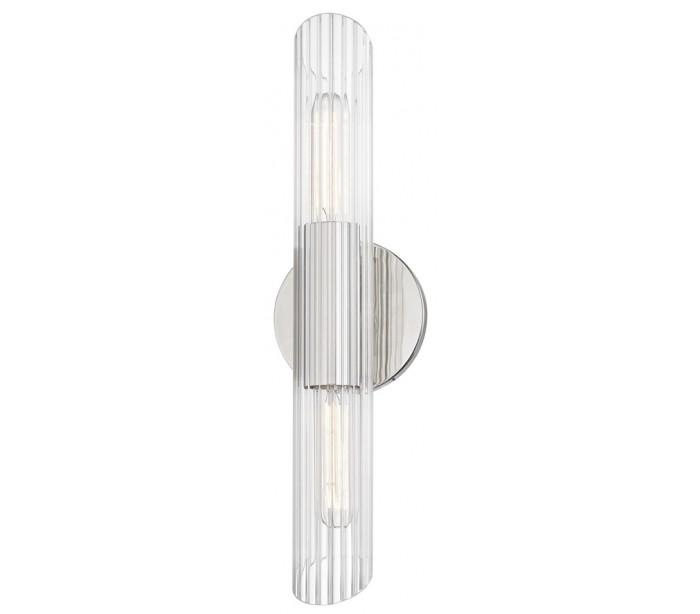 Image of   Cecily Væglampe i stål og glas H43,8 cm 2 x E27 - Poleret nikkel/Klar