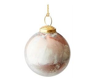 Julekugle i marmoriseret glas Ø7,5 cm - Antik kobber/Antik hvid