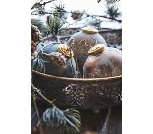 Julekugle i glas Ø7,5 cm - Antik bordeaux