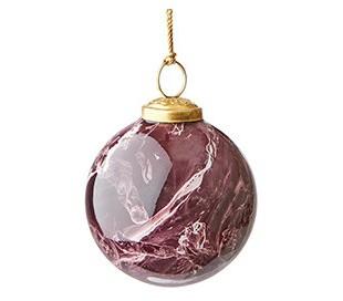 Julekugle i marmoriseret glas Ø7,5 cm - Lilla/Hvid