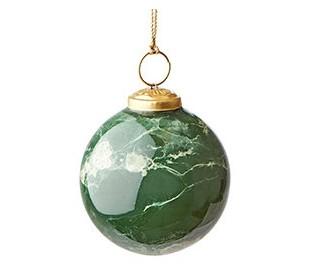 Julekugle i marmoriseret glas Ø7,5 cm - Grøn/Hvid