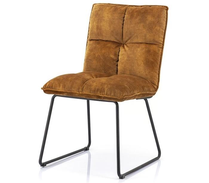 Image of   2 x Spisebordsstole i polyester og metal H89 x B49 x D60 cm - Okker